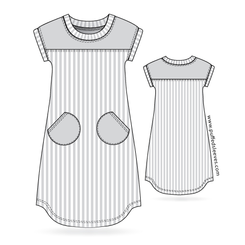 T-shirt dress with round pockets