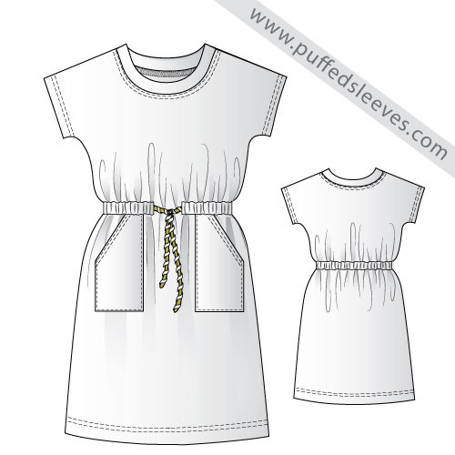 Casual T-Shirt dress printable pattern