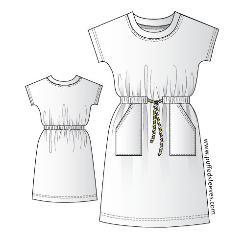 image about T Shirt Pattern Printable named Informal T-Blouse Gown