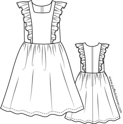 Dress with frilled top and gathered skirt