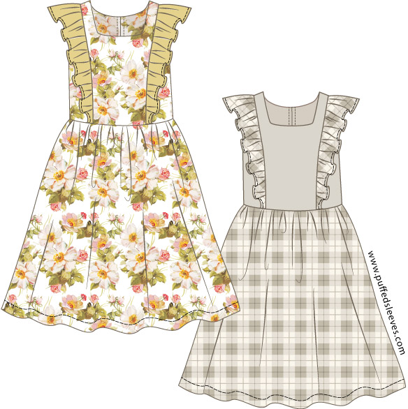 graphic relating to Printable Pattern identify Costume with frilly final and accumulated skirt.