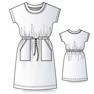 T-shirt dress printable pattern.