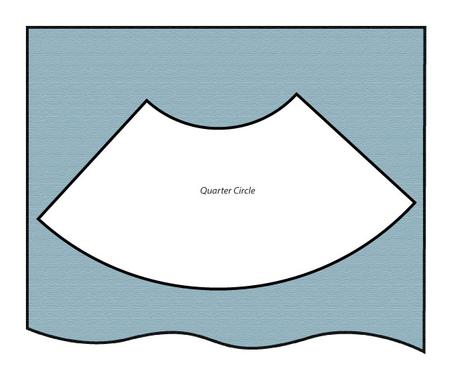 Half circle skirt pattern layout diagram