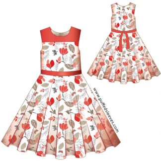 Dress with a circle skirt printable pattern