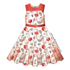 Print pattern for the dress with a circle skirt