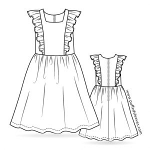Dress with a frill top printable pattern