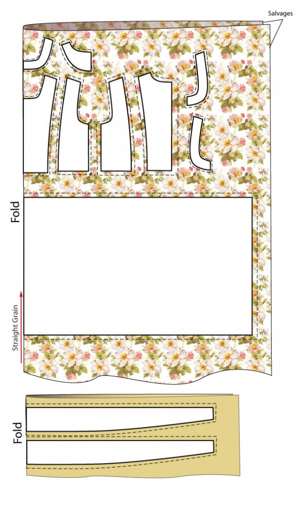 Laying out the pattern for dress with a frilly top