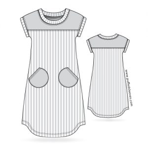 Striped T-shirt dress with round pockets pdf sewing pattern