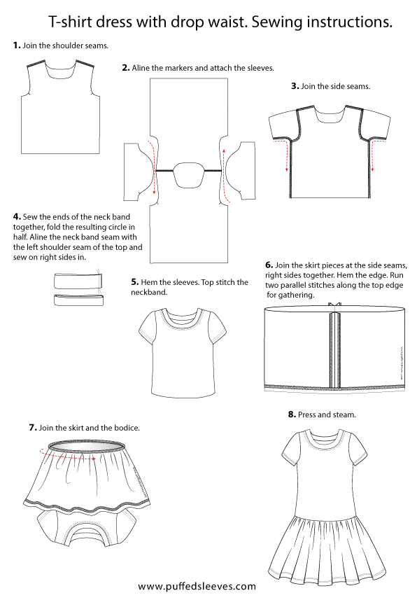 T-shirt dress with drop waist sewing instructions