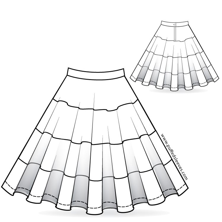 Full circle skirt with colourful bands. Sewing pattern download ...