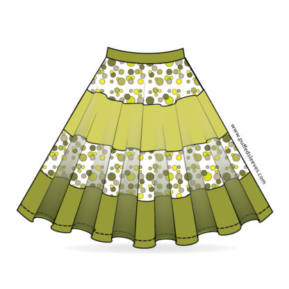 circle skirt with colourful bands