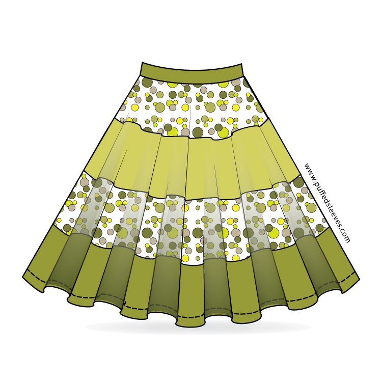Full Circle Skirt With Colourful Bands Sewing Pattern Download