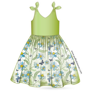 Tie-up shoulder sundress printable pattern