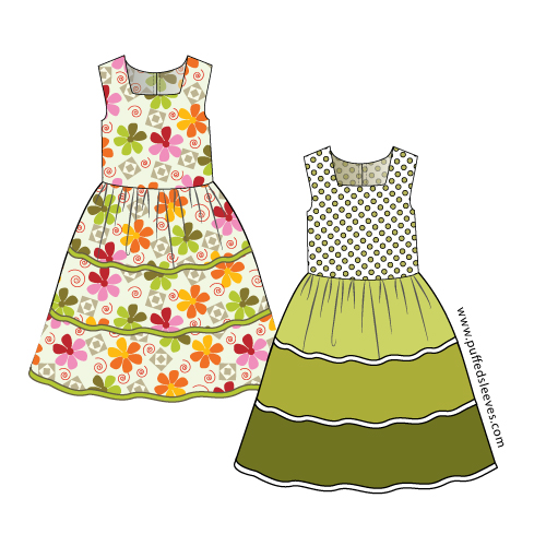 dress with bright trim pattern