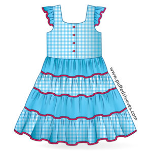 Summer dress with four-tiered skirt. Blue gingham combination.