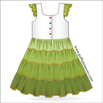 Summer dress with four-tiered skirt. Green combination.