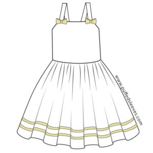 Sun dress with white trim PDF sewing pattern